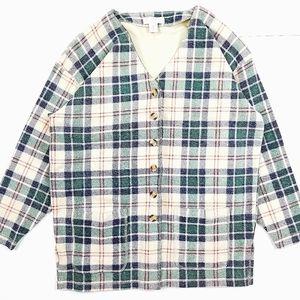 VTG 90's 00's Plaid Fleece Cardigan Sweater Jacket